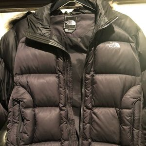 North Face Black Fur Puffer Coat Size L